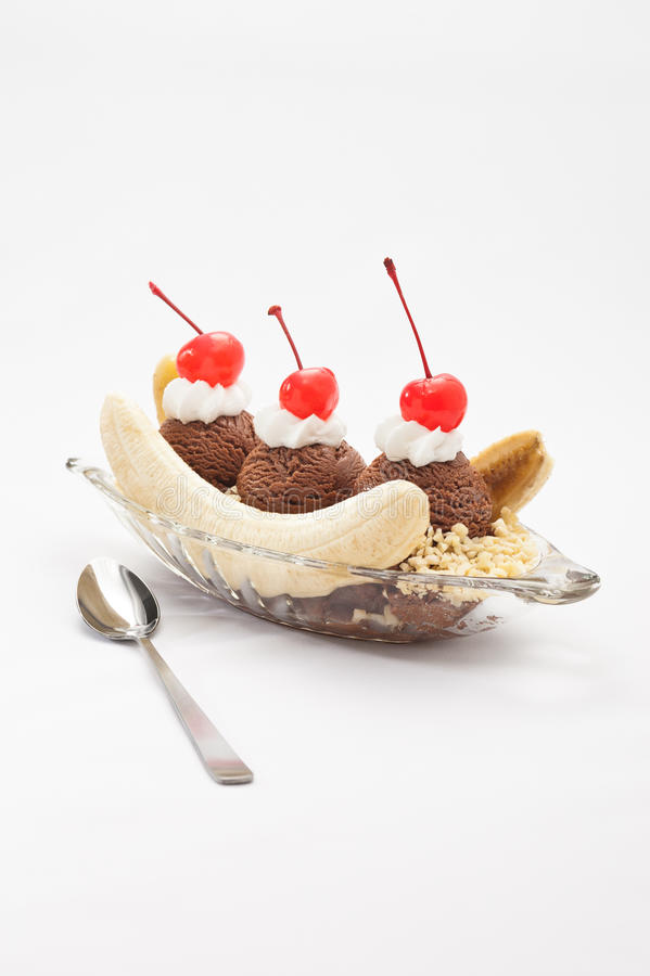 Banana Split Ice Cream. Isolated over color background royalty free stock photos