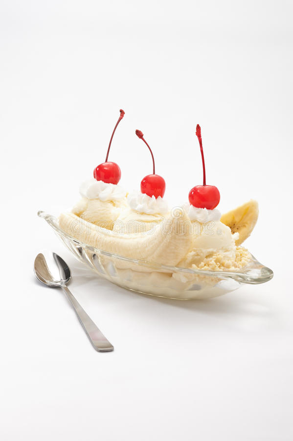 Banana Split Ice Cream. Over bright beige background royalty free stock photos