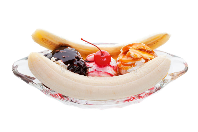 Banana split sundae. Banana split ice cream on a white background royalty free stock image