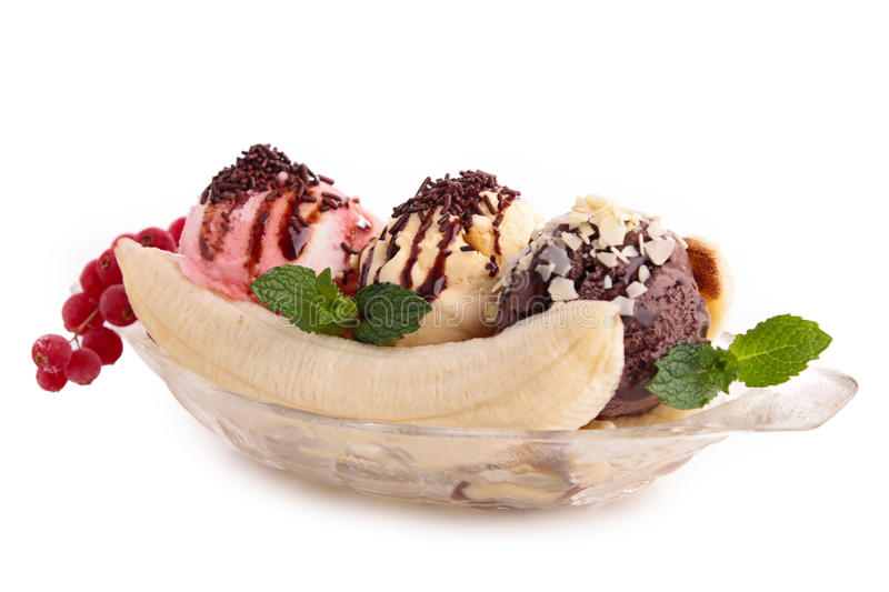 Banana split. On white stock image