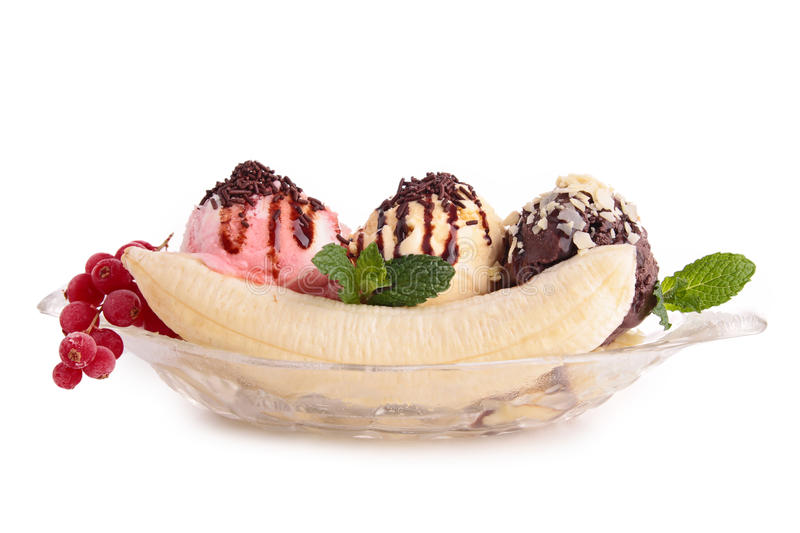 Banana split. On white stock photos