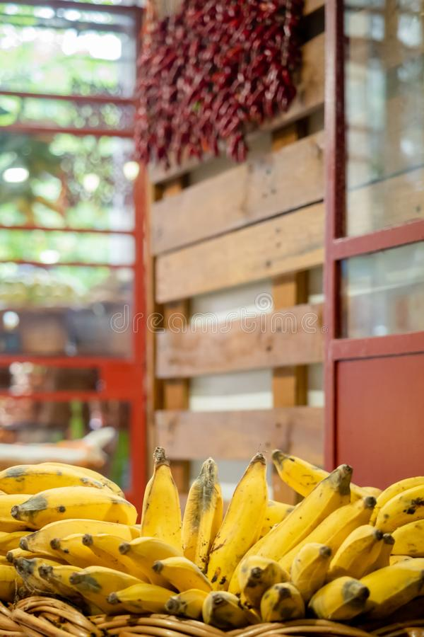 Banana stand on the market royalty free stock image