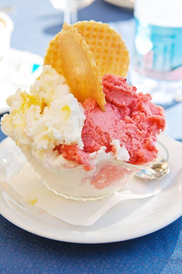 Banana, strawberries ice cream royalty free stock photography