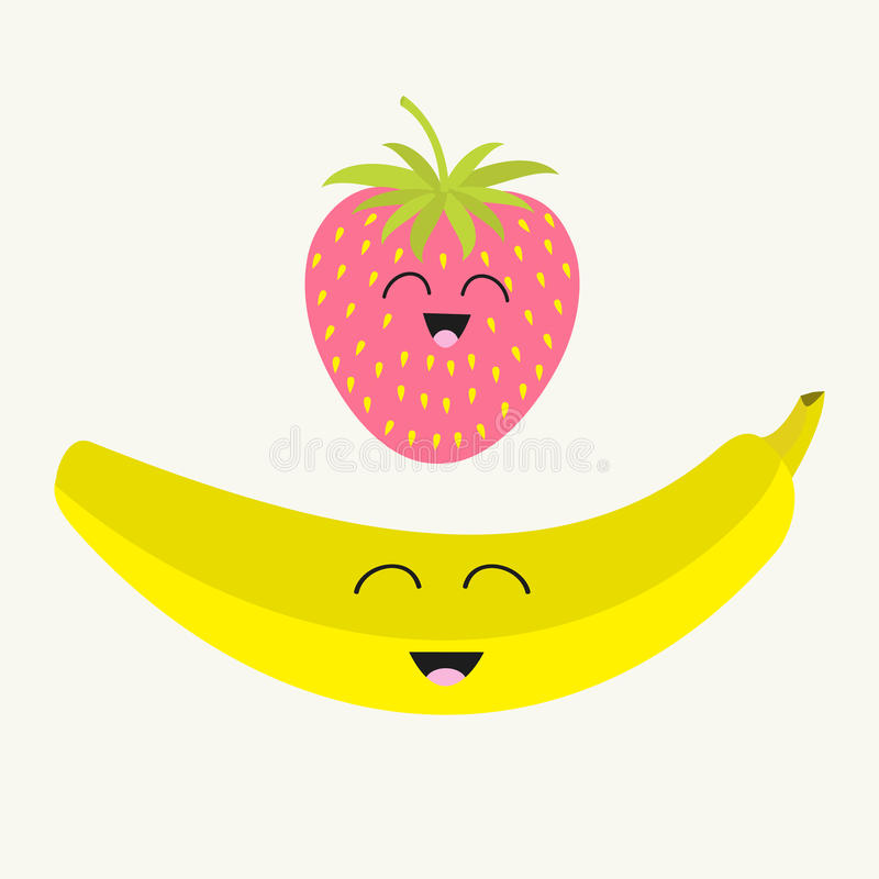 Banana and strawberry. Happy fruit set. Smiling face. Cartoon smiling character with eyes. Friends forever. Isolated. Flat design. vector illustration
