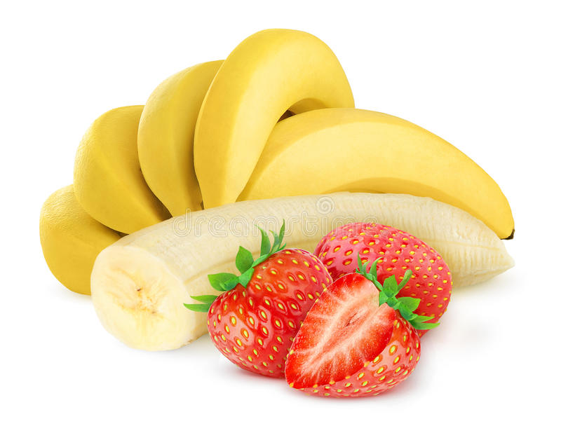 Banana and strawberry stock photo