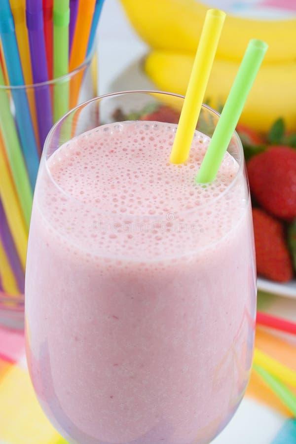 Banana strawberry milkshake stock photo
