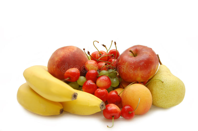 Banana, sweet cherry, apple, pear, apricot, peach royalty free stock image