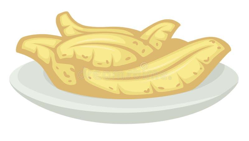 A banana tropical do alimento biológico na placa serviu a sobremesa ilustração do vetor