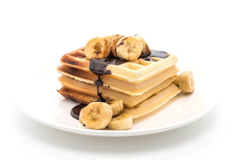 banana waffle with chocolate stock images