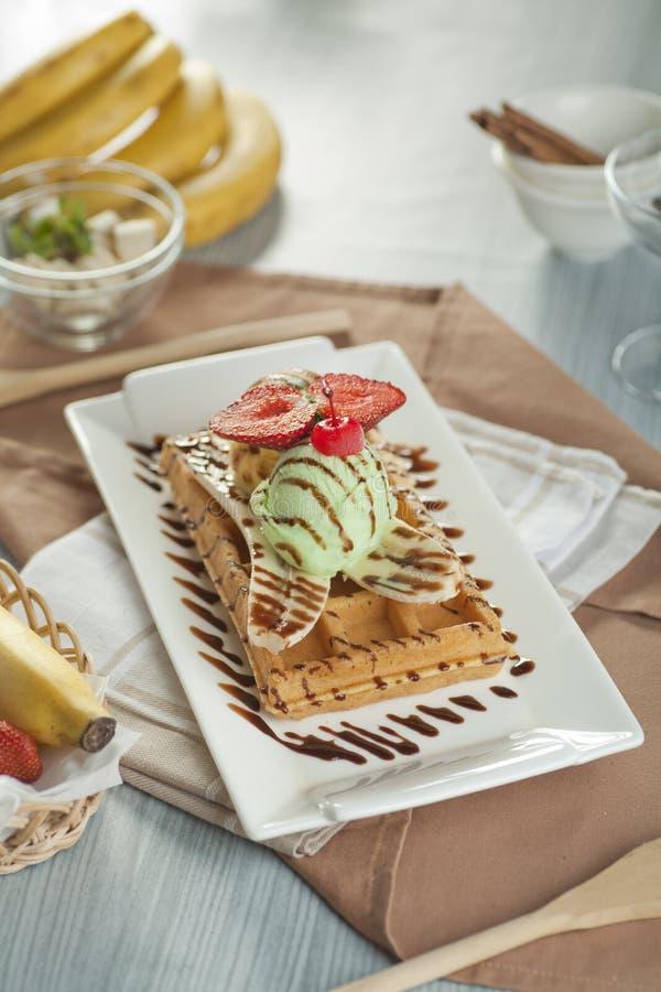 Banana Waffle royalty free stock photography