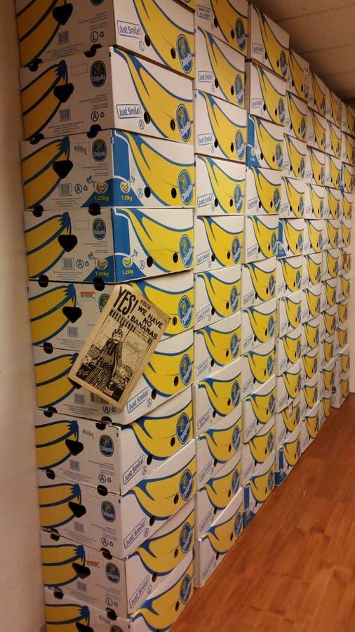 bananabox muur stock fotografie