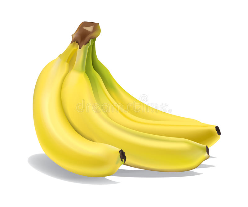 Bananas. 3D illustration of 3 bananas