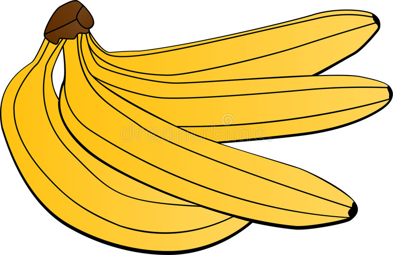 Bananas. Yellow bananas rendered with 3 color royalty free illustration