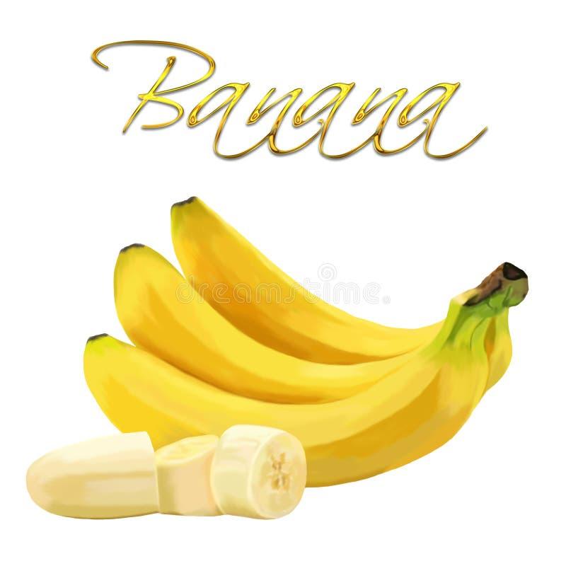 Bananas amarelas maduras em um fundo branco ilustração do vetor