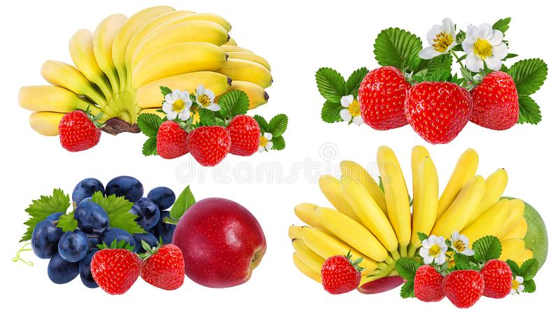 Bananas,apples ,grapes and strawberries isolated isolated. On white stock image