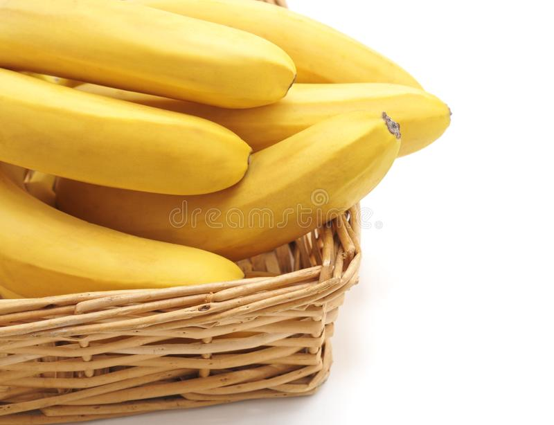 Mature Yellow Bananas In A Basket