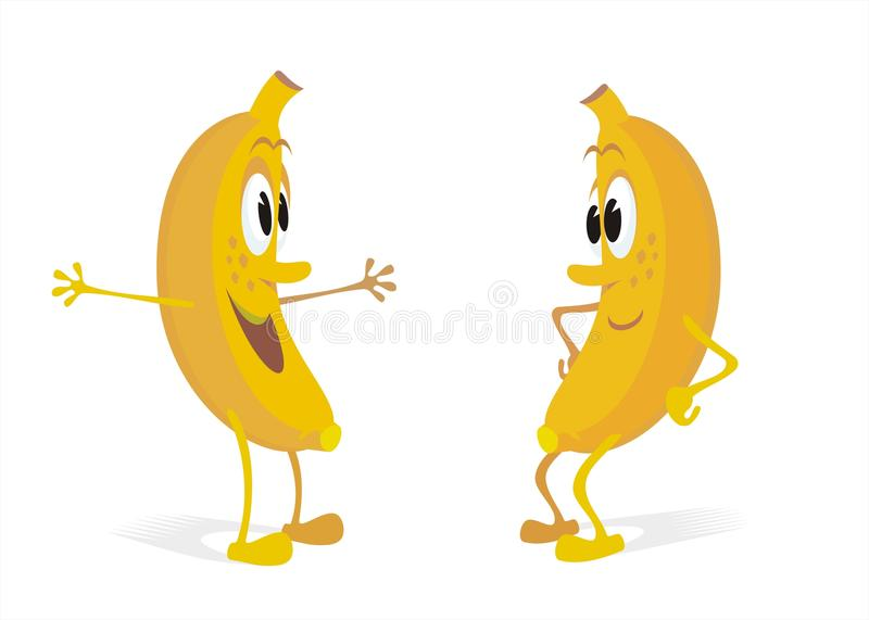 Bananas Cartoons Talking. Cartoon of a pair of bananas talking on white background. See more fruits and vegetables cartoons in my portfolio vector illustration