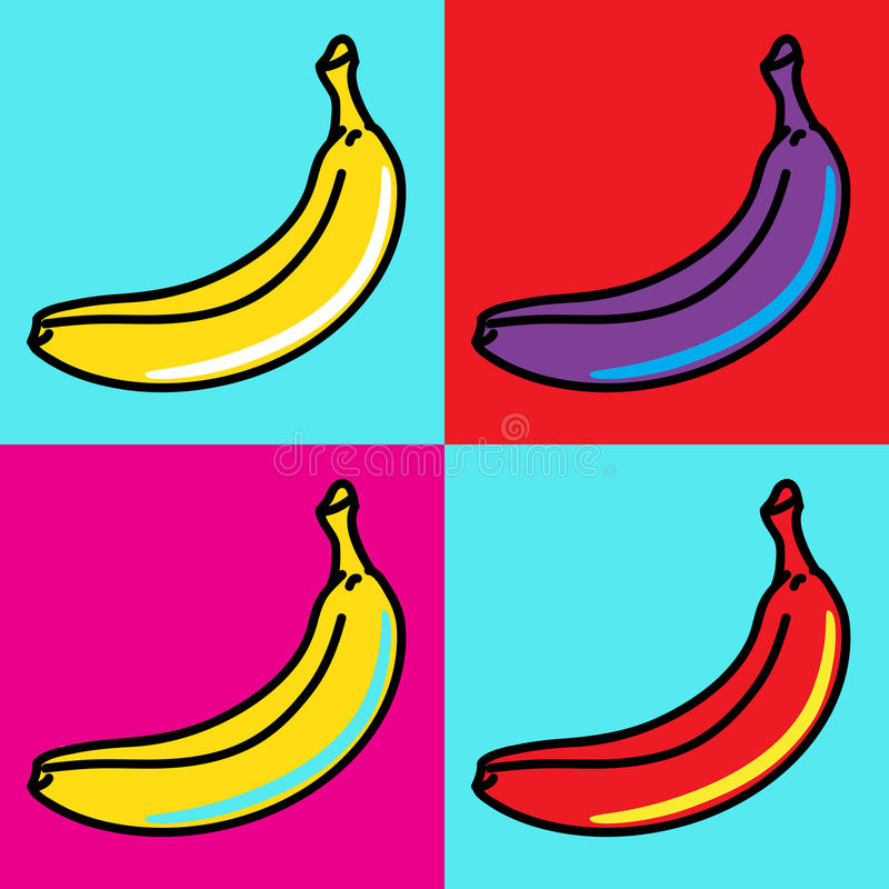 Bananas. The composition of bananas in the style of Andy Warhol stock illustration