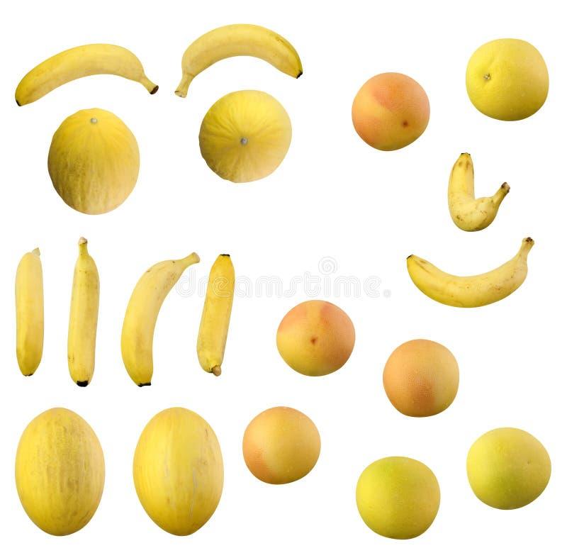 Bananas e laranjas e limões e Galia e GRUPO amarelo do melão e o branco e o vermelho da toranja fotografia de stock