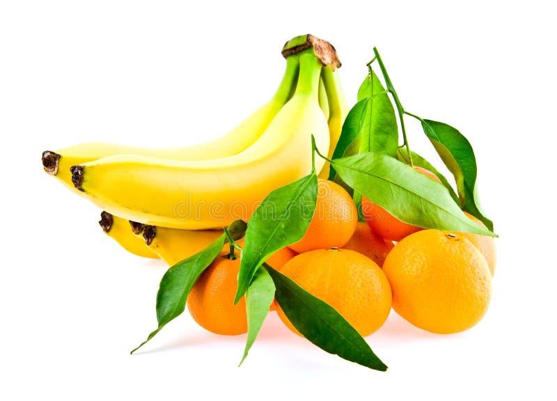 Bananas e mandarino fotografia de stock