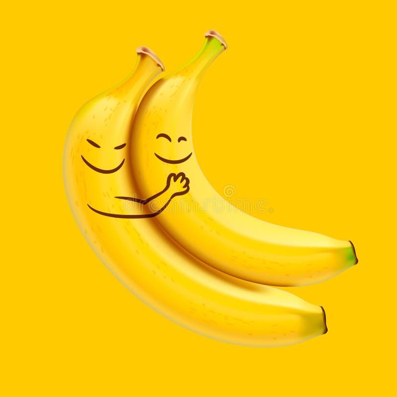 Bananas engraçadas do sono ilustração stock