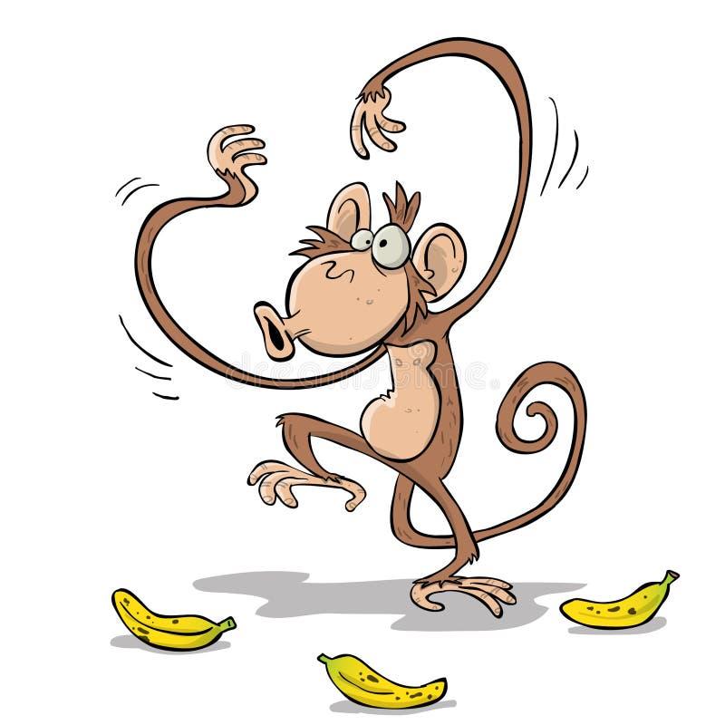 Bananas indo do macaco na selva ilustração royalty free