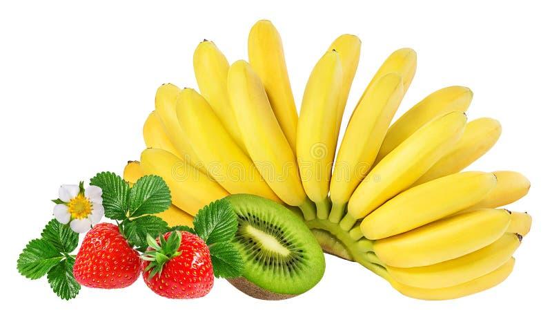 Bananas, kiwi and strawberries isolated. On white royalty free stock photo