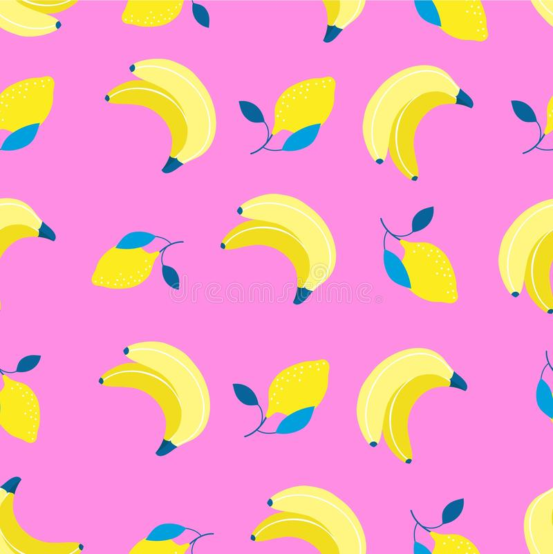 Bananas and lemons pattern in flat style. Sweet and colorful summer background. Vector illustration.  royalty free illustration