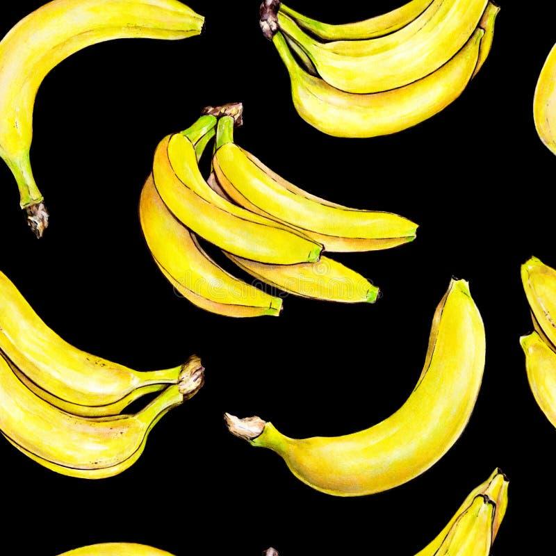 Bananas no fundo preto Teste padrão sem emenda Ilustração da aguarela Fruta tropical Handwork ilustração royalty free