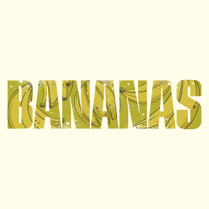 Bananas sign. Vector bananas poster with double exposure effect stock illustration