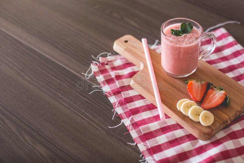 Bananas Smoothie. Fresh Strawberries and Bananas Smoothie stock image