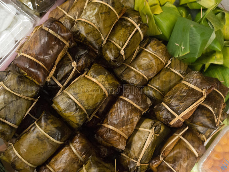 Bananas with Sticky Rice or Khao Tom Mad, Thai dessert stock images