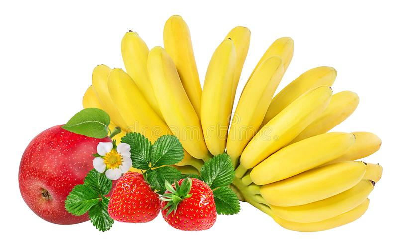 Bananas , strawberries and apples isolated on white. Background stock image