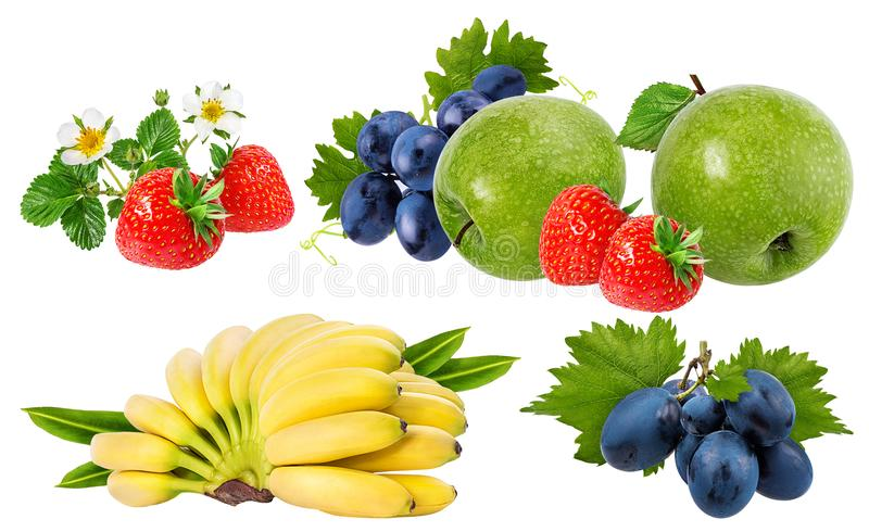 Bananas , strawberries,grapes and apples isolated on white. Background royalty free stock photography