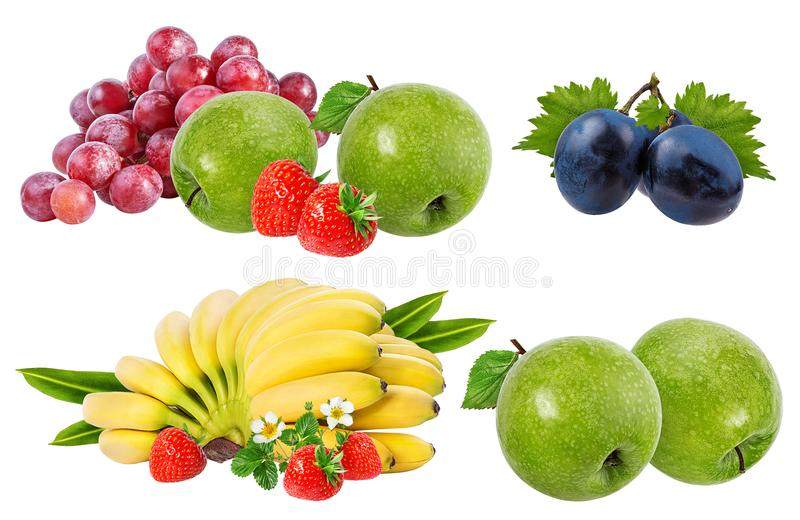 Bananas , strawberries,grapes and apples isolated on white. Background royalty free stock photos