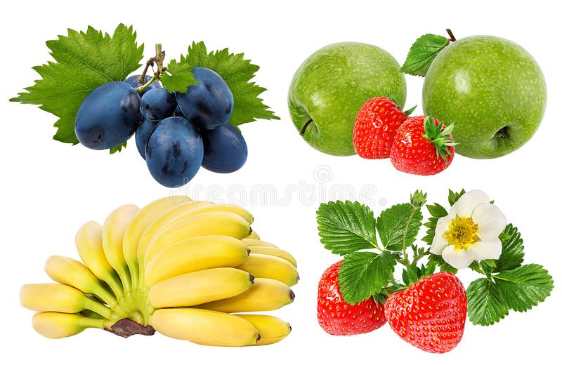 Bananas , strawberries,grapes and apples isolated on white. Background royalty free stock image