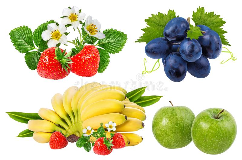 Bananas , strawberries,grapes and apples isolated on white. Background royalty free stock images