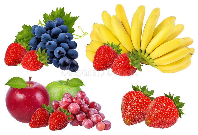 Bananas, strawberries,grapes and apples isolated on white. Background stock image