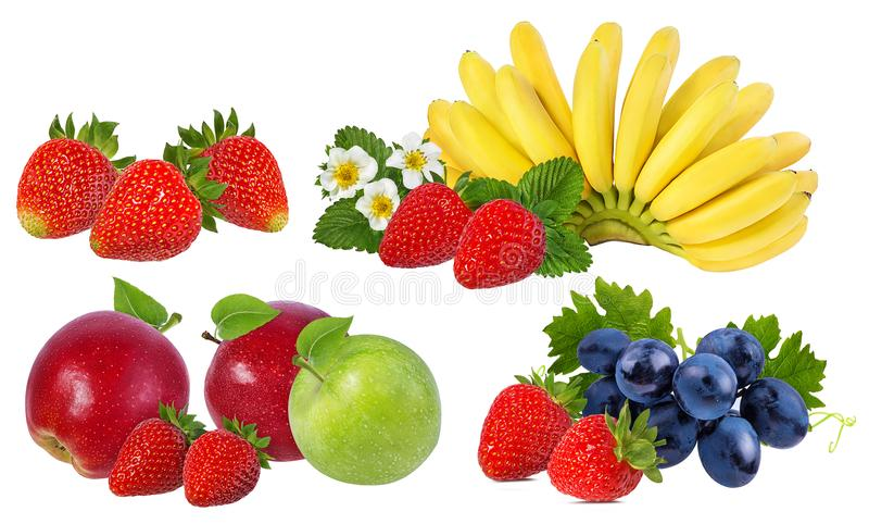 Bananas, strawberries,grapes and apples isolated on white. Background stock photography