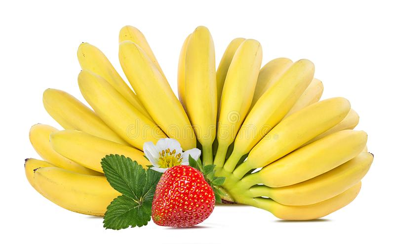 Bananas and strawberries isolated. On white stock image