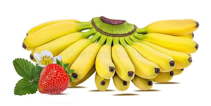Bananas and strawberries isolated. On white royalty free stock photos