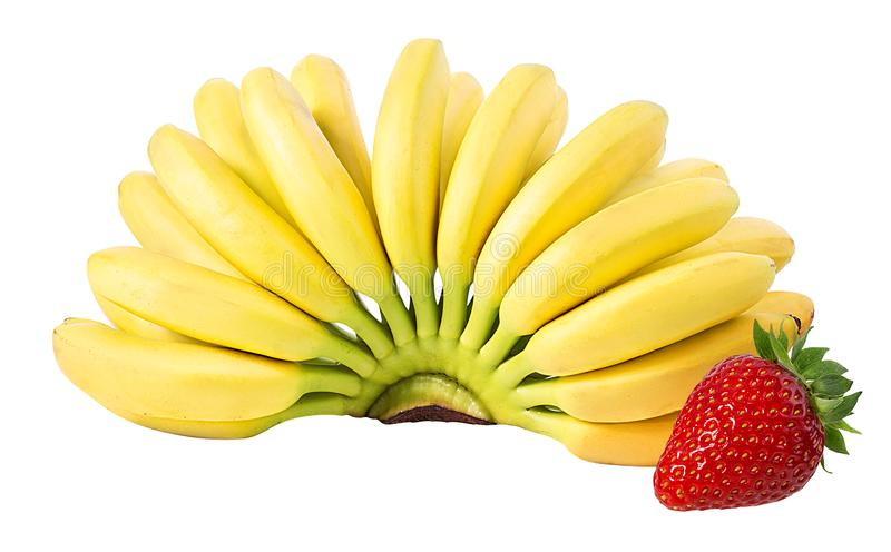 Bananas and strawberries isolated. On white royalty free stock images