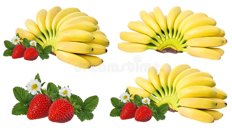 Bananas and strawberries isolated. On white royalty free stock photography
