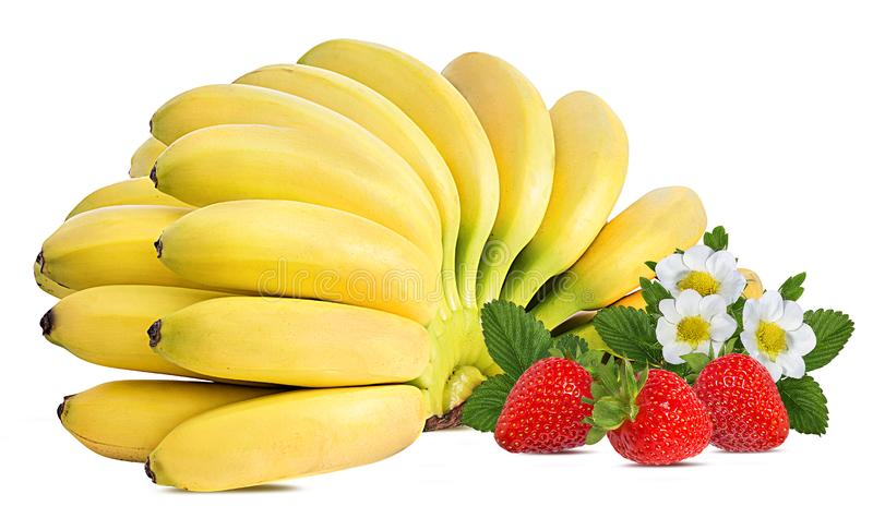 Bananas and strawberries isolated. On white stock photos