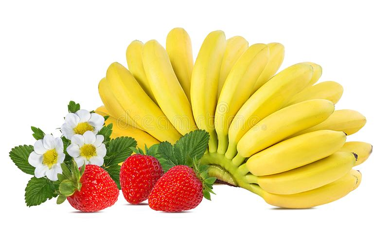 Bananas and strawberries isolated. On white stock photo