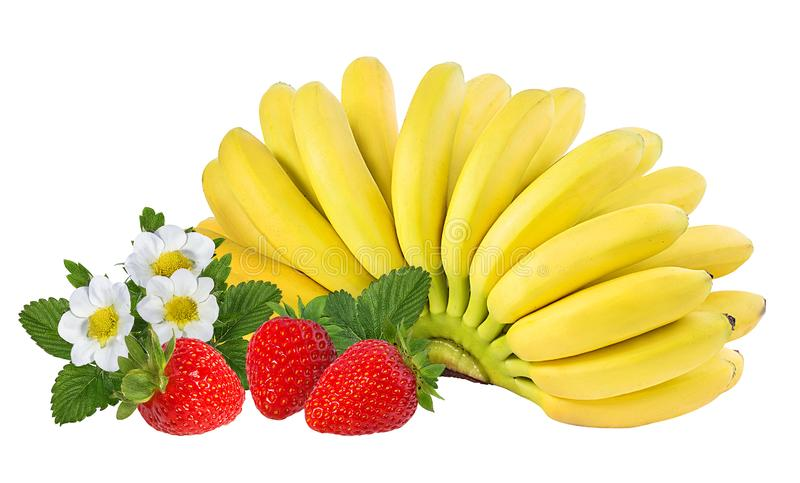 Bananas and strawberries isolated. On white royalty free stock photo
