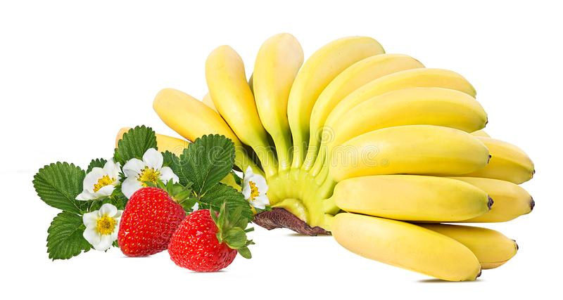Bananas and strawberries isolated. On white stock photography
