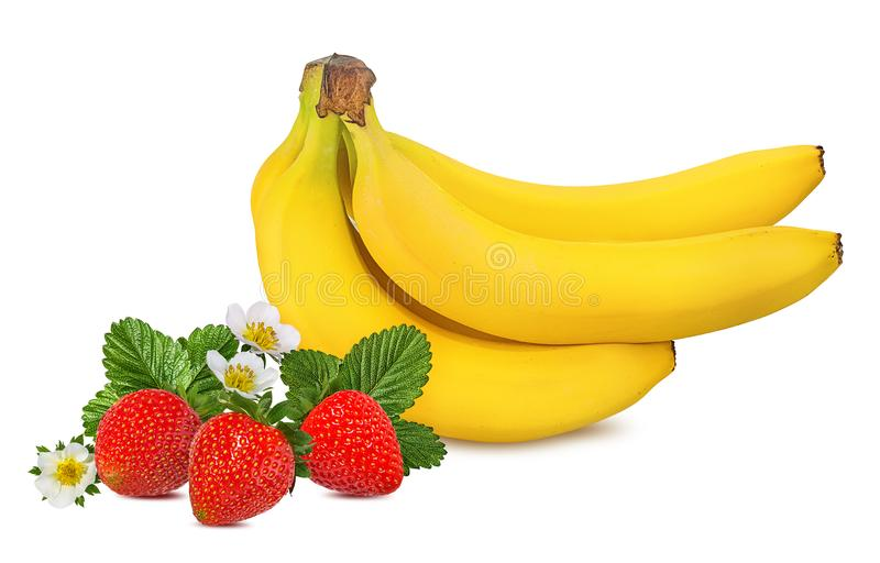 Bananas and strawberries isolated royalty free stock photos