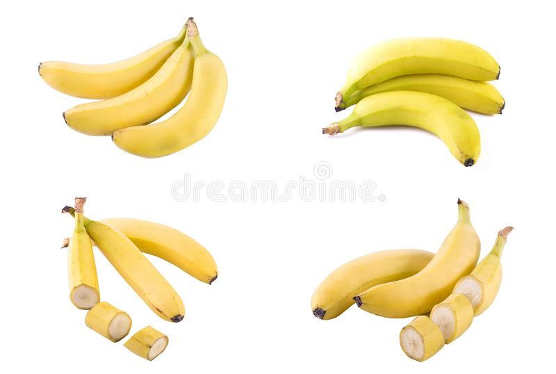 Bananas on a white background. Fresh tropical fruits on a white background. royalty free stock image