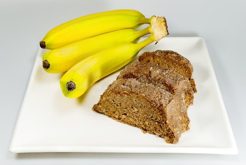 Bananbröd och bananer royaltyfria bilder